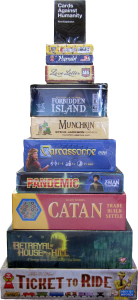 stack of modern board games