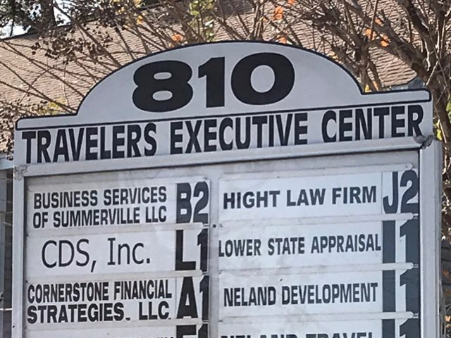Travelers Executive Center Sign – top